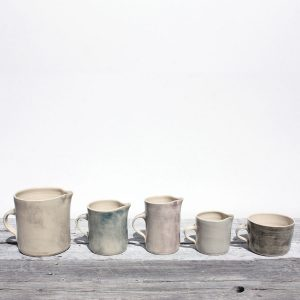 4 jugs and a mug colour wash