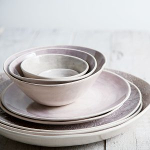 dinnerware Aubergine wash and mixed pattern dinner plates and bowls